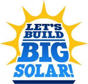 100 Renewable Let's build big solar logo
