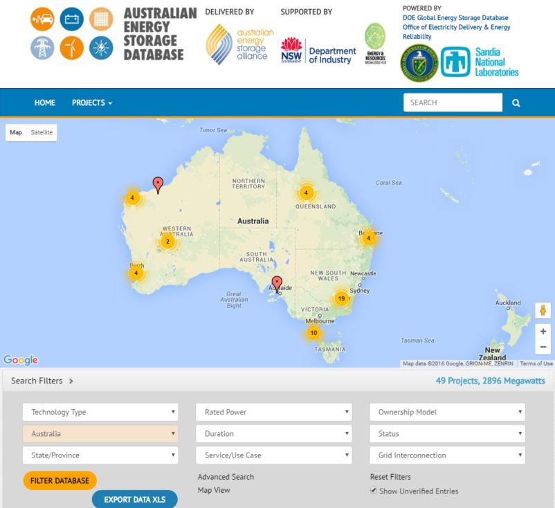Australian Energy Storage Database screenshot