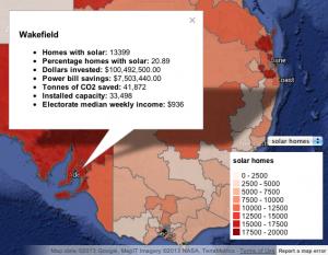 Australian solar map electorate statistics