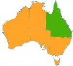 Australian map with Queensland highlighted