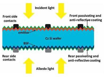 Bifacial solar cells schematic