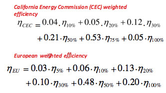 CEC vs Euro weighted inverter efficiency formulas