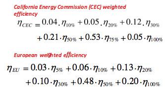 CEC vs Euro weighted inverter efficiency formulas