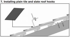 Conergy hook system for mounting solar panels on slate and plain tile roofs
