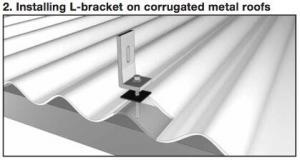 An L-bracket on a corrugated metal roof for a solar panel