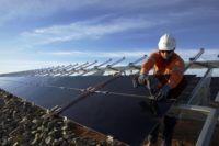 Worker at AGL's Broken Hill Solar Plant