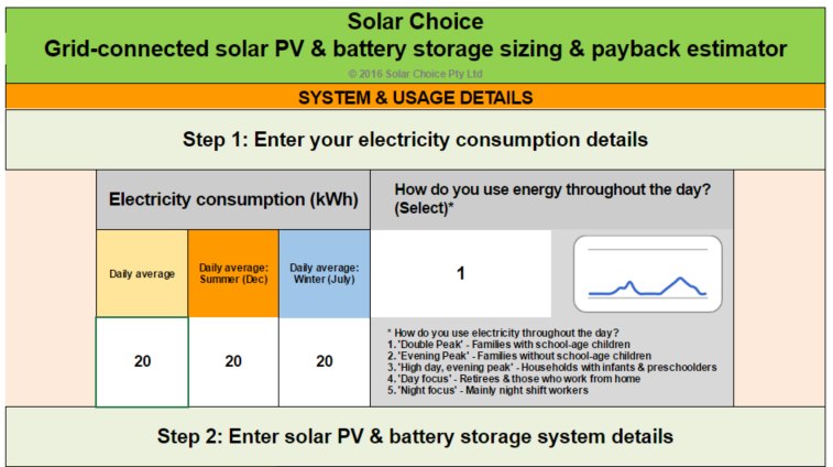Grid-connected solar and storage calculator
