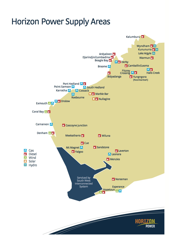 Horizon Power WA supply areas