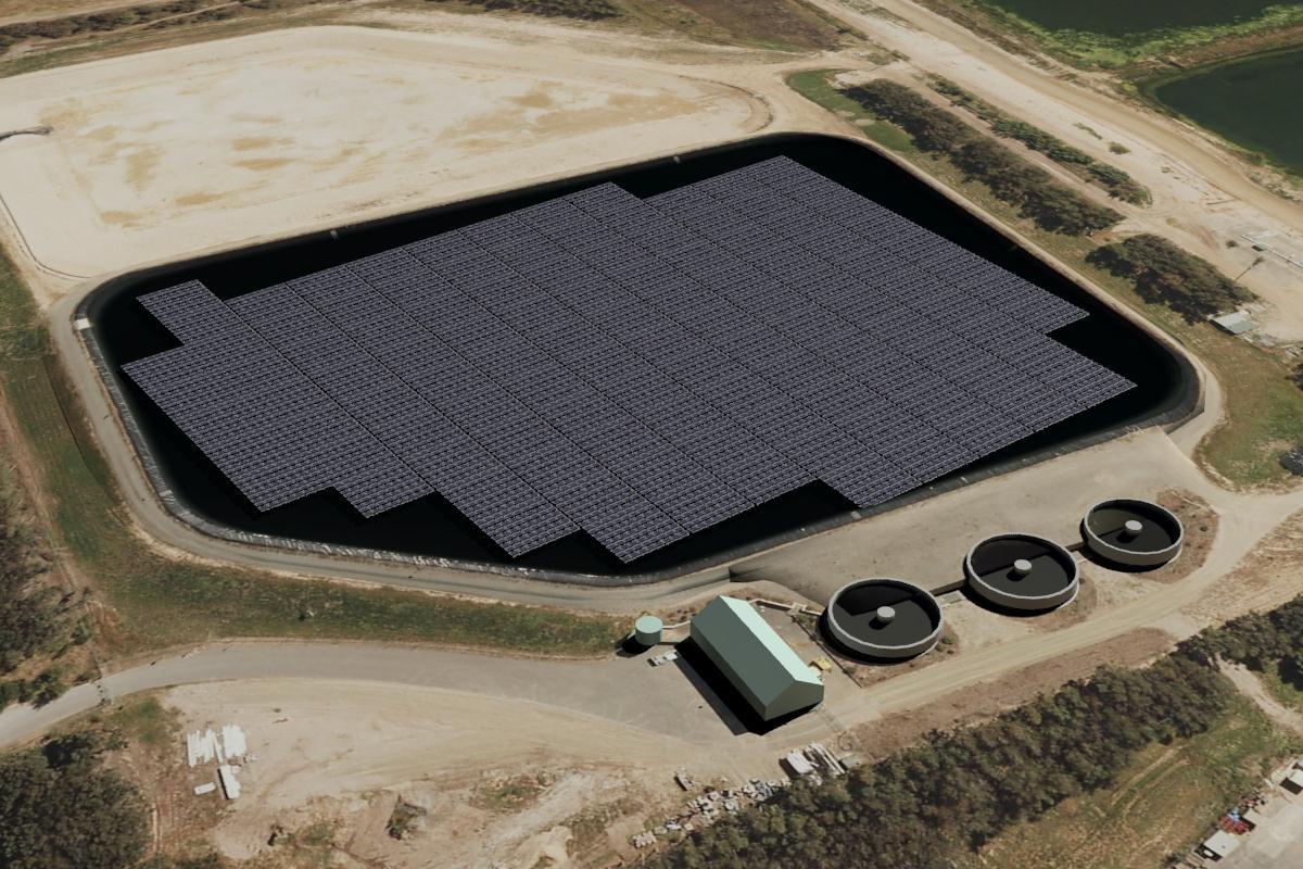 Jamestown floating solar plant rendering