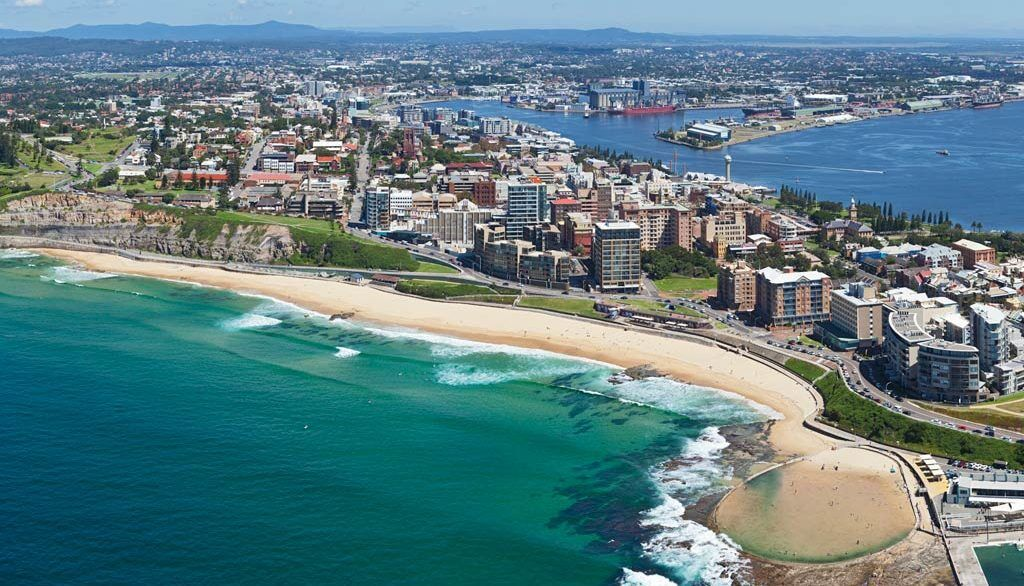Aerial image of Newcastle showing solar panel installations