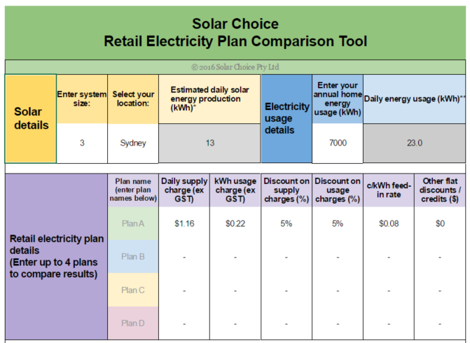 Retail electricity plan comparator tool