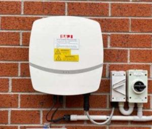 SAJ 5kW r5 solar inverter installed on brick wall
