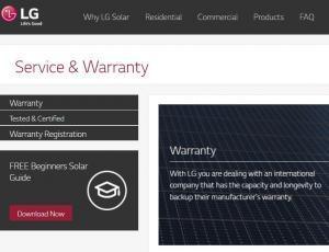 Screenshot of LG solar panel website warranty section