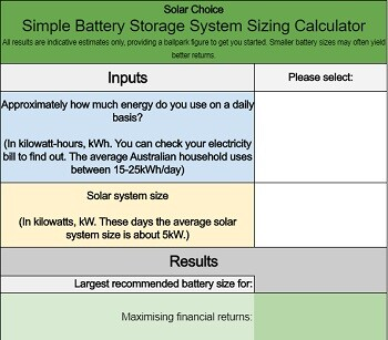 Simple battery storage sizing estimator - free calculator