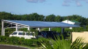 Solar powered car park, outside Republic of Palau Parliament House.