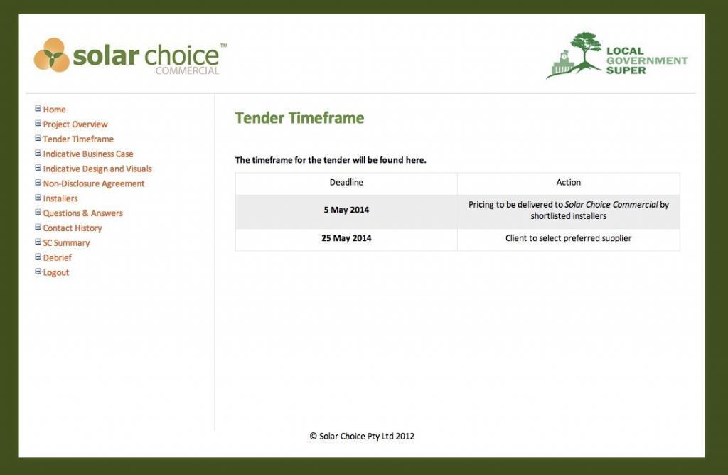 Solar Choice Commercial Tender Management Platform Timeframe
