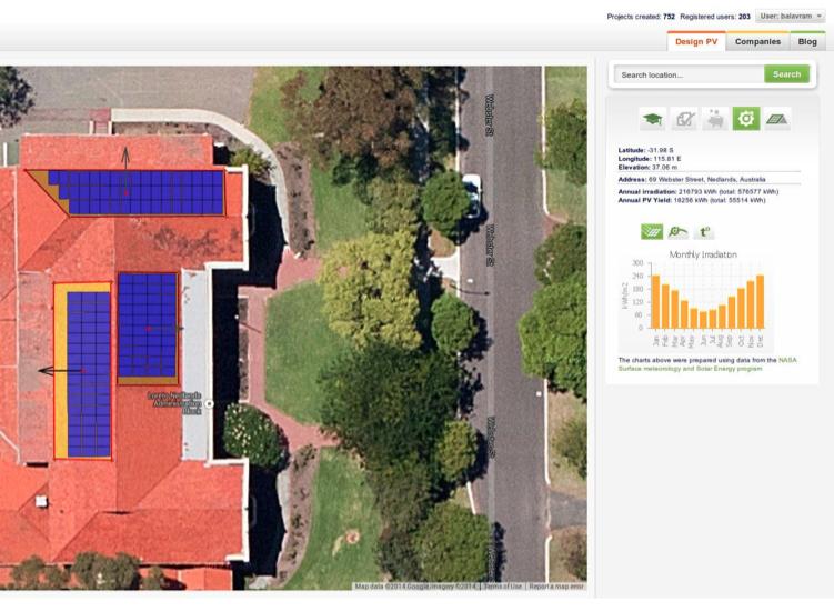 Solar Mapper roof panel arrays