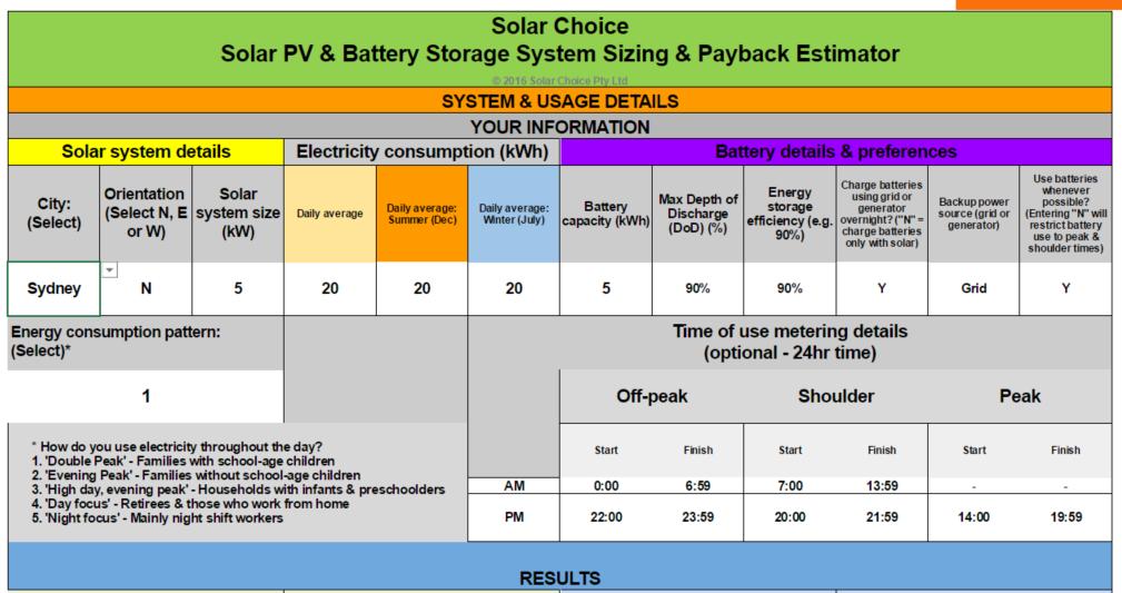 Solar and battery storage advanced calculator