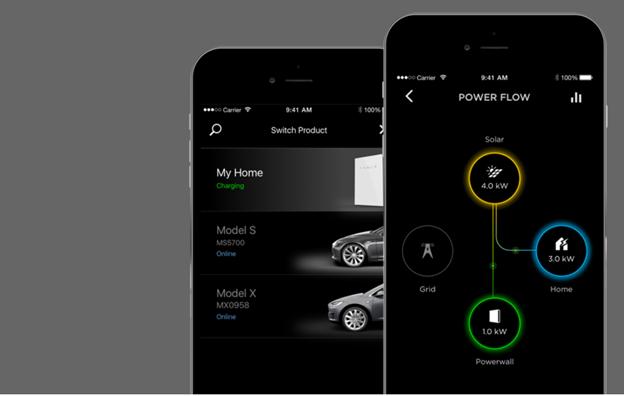 Tesla powerwall 2 screenshots of iphone application