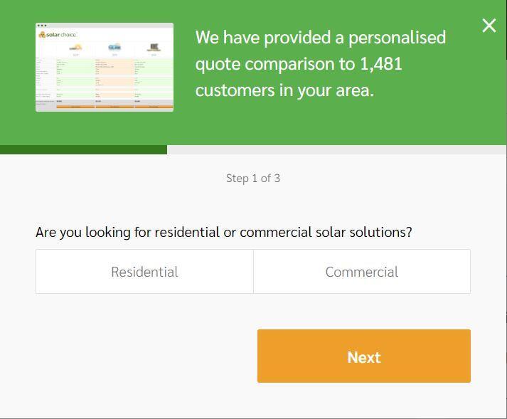 Solar Choice website customer form