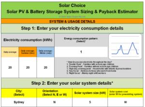 solar choice solar pv & battery storage system sizing & payback estimator