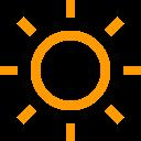 Outline image on sun emitting solar power