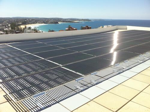 Tubular solar panel array Manly apartment block